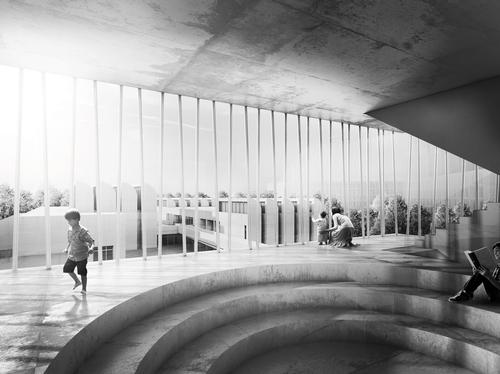 A lower-lying courtyard will form the heart of the complex, which will also contain the existing museum building / H.J. Wuthenow
