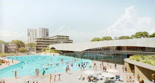 Rendering of the 50m (164ft) outdoor pool / City of Sydney - Green Square Design Competition
