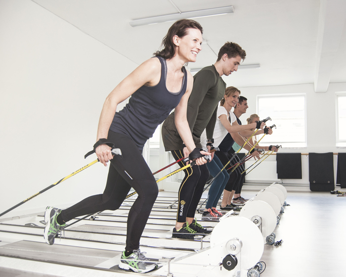 A full-body workout machine that imitates cross-country skiing