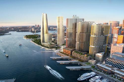 A rendering of the proposed landmark hotel by Wilkinson Eyre, part of the Barangaroo South development / Wilkinson Eyre