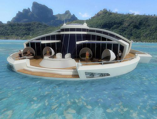 """Individual villas would include outdoor decking, dining facilities and an underwater """"observation bulb"""" / MPD Designs"""