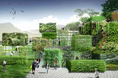 Gaps in the framework will create the illusion that parts of the garden are floating above the ground / Studio Pei-Zhu