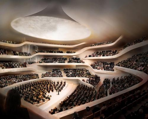 The centrepiece of the complex is a world-class concert hall at a height of 50 m (164 ft) with seating for 2,100 / Elbe Philharmonic