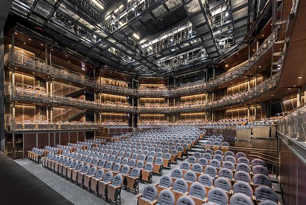 Nine huge audience seating towers can be rearranged in 12 different configurations