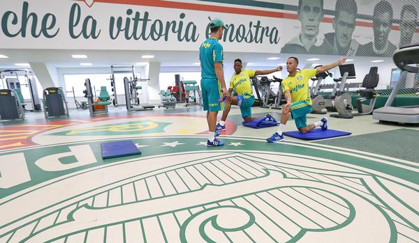 The flooring in the new training centre is a bespoke, branded, 'motivational space' for players