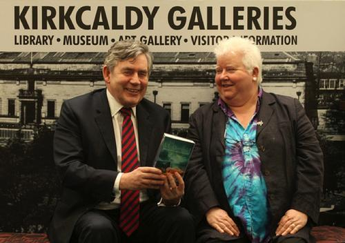 Former Prime Minister Gordon Brown and author Val McDermid at the opening