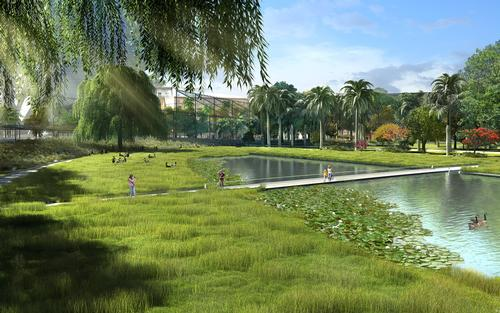 The green space will feature ponds, lakes and man-made water features / Gustafson Porter