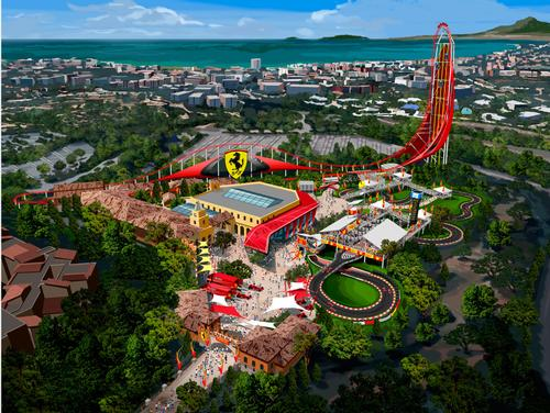 Ferrari Land will include the highest and fastest vertical accelerator rollercoaster in Europe / Ferrari