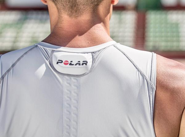 Heart rate capture points are built into the shirt's fabric