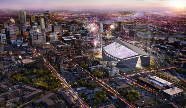 US Bank Stadium, Minnesota, US: The Minnesota Vikings' stadium is under construction and is due to open this summer (2016). It features a huge EFTE roof