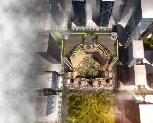 From above the complex will resemble a plant-covered mountain / Ingenhoven Architects, M+S Pte Ltd, Gustafson Porter