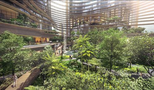 The 'Green Heart' atrium will provide a tranquil space for residents in the busy city-state / Ingenhoven Architects, M+S Pte Ltd, Gustafson Porter