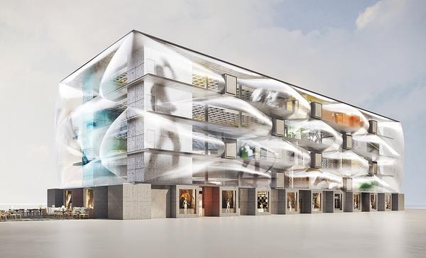 The health club was designed with a series of air filled 'pillows' on the façade to give an impression of lightness