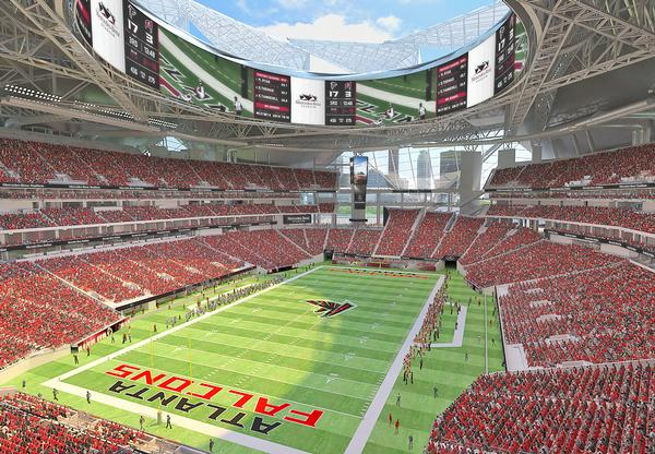 The HOK-designed Mercedes-Benz Stadium features a retractable roof inspired by a falcon's wing