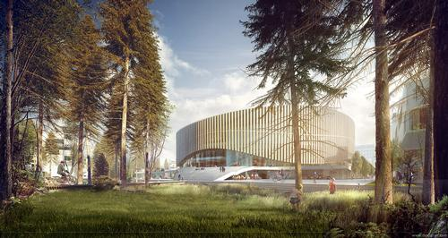 The arena has a distinct Nordic feel to its design / 3XN