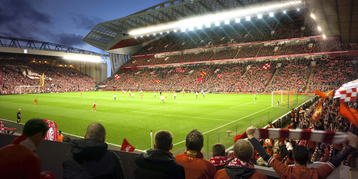 Work to add 8,500 seats to the Main Stand is scheduled for completion during the 2016/2017 football season / Liverpool FC/KSS Group