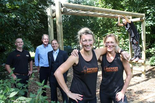 Staff from theclub and Fountain Timber MD Steven Sutton (second from left) showcase the new fitness course