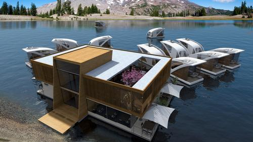 Hotel facilities are offered in a central floating construction / Salt & Water Design Studio