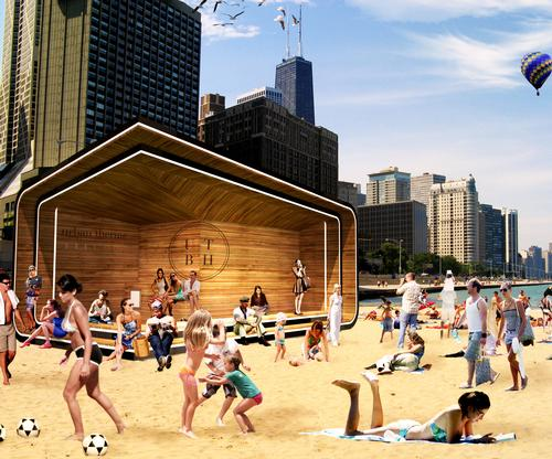 During the summer months, the kiosks become a shady respite for beachgoers, utilising the cool lake breeze from its large covered patio / Urban Therme