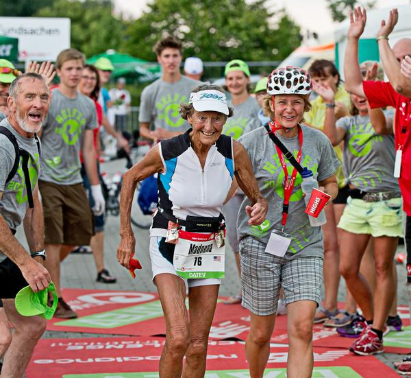 87 year old 'Iron Nun', Madonna Buder, started competing in Ironman events at the age of 55 / DANIEL KARMANN/dpa_PRESS ASSOCIATION
