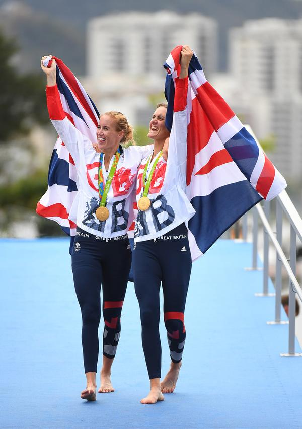 Helen Glover (left) and Heather Stanning (right) took gold for GB  in the rowing (coxless pairs) / jack gruber / USA TODAY sports / press association