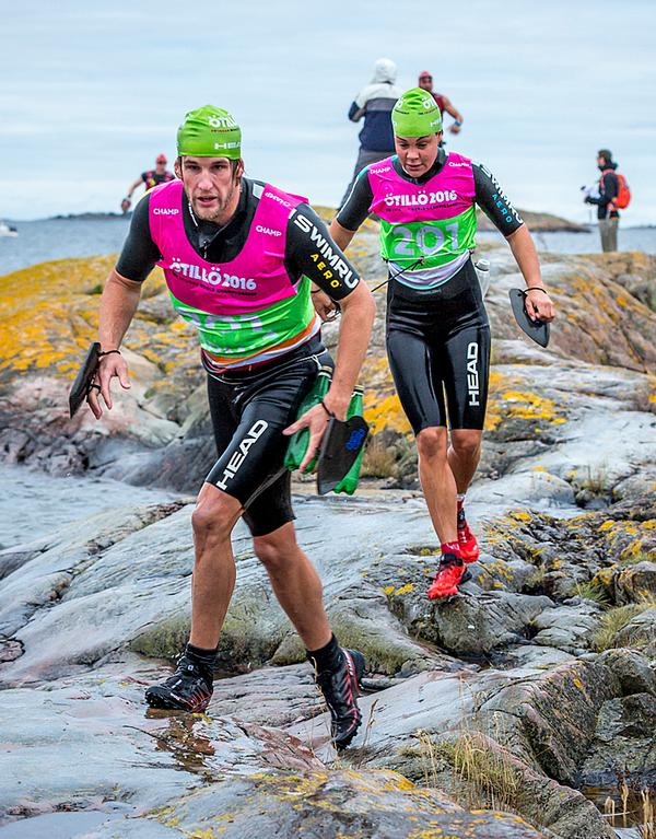 SwimRun competitors race in pairs, never being more than 10m apart during the event