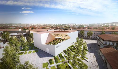 Studio Libeskind has worked with local firm Do Architects to design the unusually-shaped white concrete building / Studio Libeskind