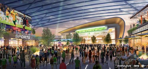 The sports district will be anchored by a 17,000-seat indoor arena