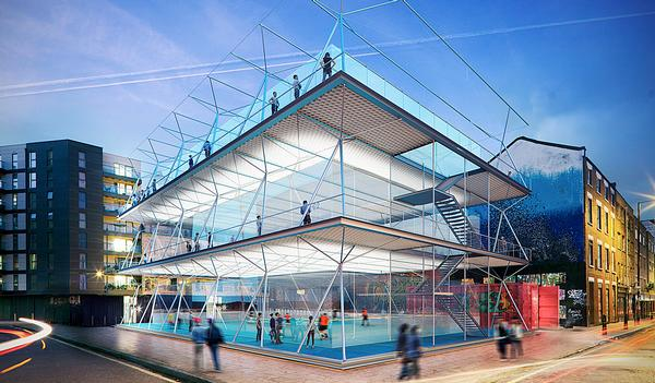 The three-storey pitches are built from carbon fibre