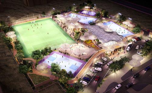 The kit-like nature of the Al Farjan Sports Facilities masterplan means it can be placed anywhere in the country / Grimshaw Architects