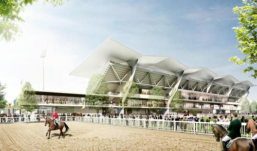 A rendering of the new and improved equestrian offering at the RDS Arena / Grimshaw/Newenham Mulligan and Leinster Rugby
