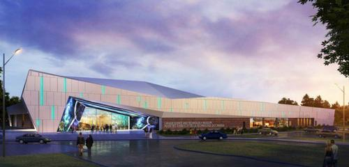 The plans include a facade featuring a large LED screen / Canada Science and Technology Museum