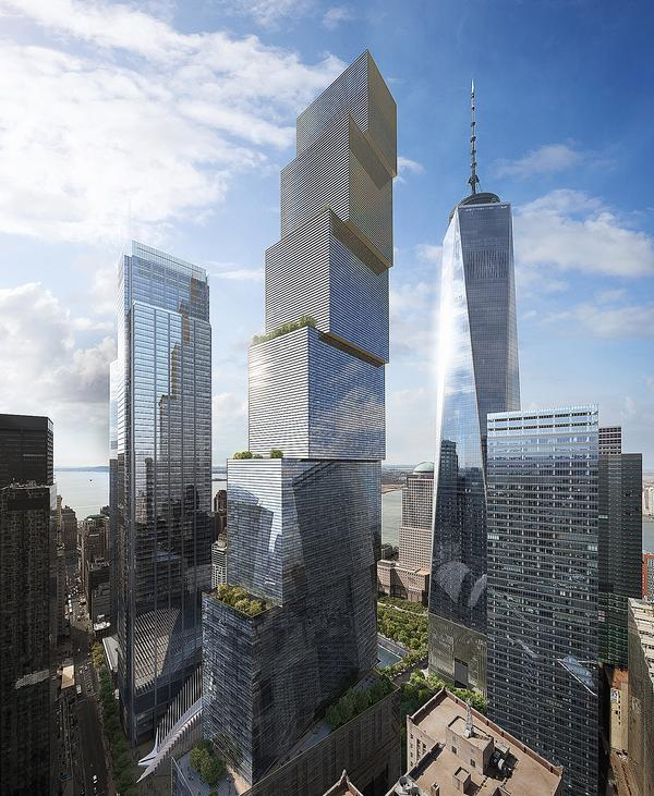2 World Trade Center consists of seven stacked volumes with a public plaza at the base