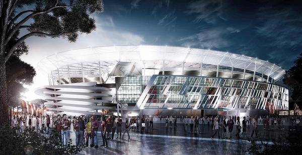 The design of the Stadio Della Roma is inspired by Rome's Colosseum