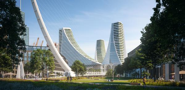Three curving 30-storey towers are the centrepiece of Calatrava's design for Peninsula Place