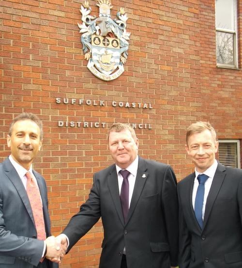 (L-r) Aron Nassim (director of projects at Pulse), SCDC Cllr Richard Kerry and Mark Taylor (contracts manager at Places for People Leisure)