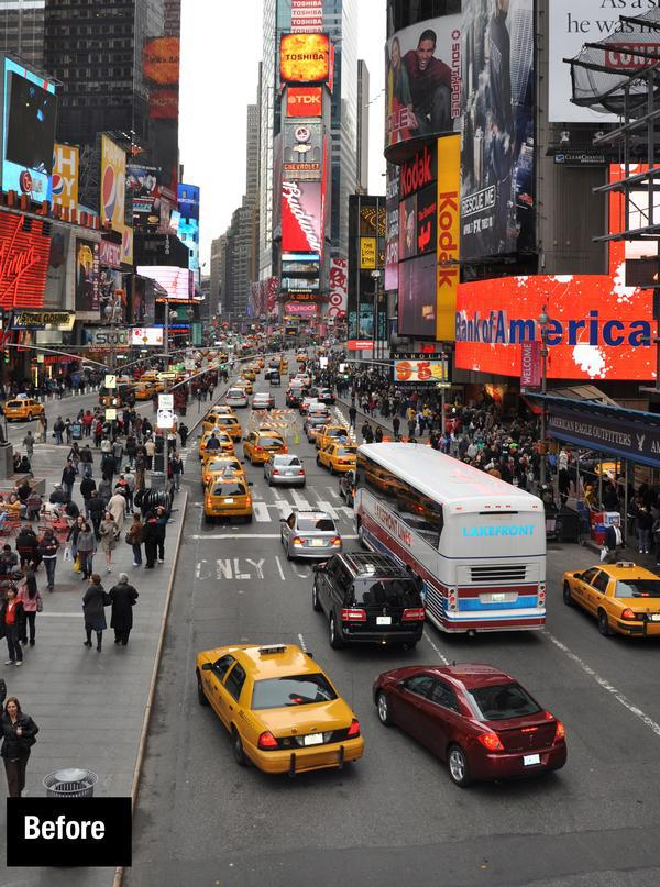 Before- Times Square in New York City was pedestrianised