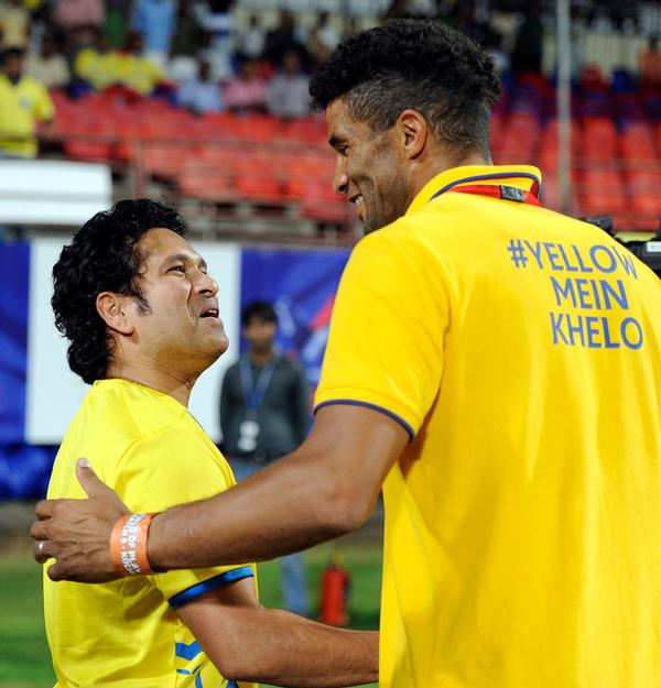 Sachin Tendulkar (left) co-owns ISL team Kerala Blasters