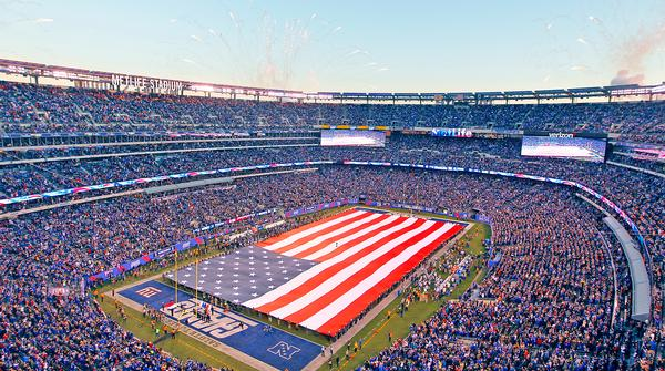 New Jersey's MetLife Stadium is made of an outer skin of aluminium louvers and glass  / PHOTO: PA / Gary Hershorn