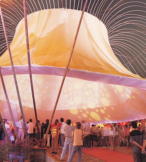 Lim created a bamboo pavilion when he participated in Mid-Autumn Festival in 2003