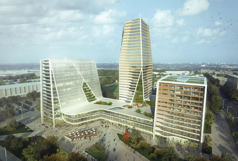 The sports-themed project – designed by architects LAVA – will be based on sustainability and will include three towers of gold, silver and bronze