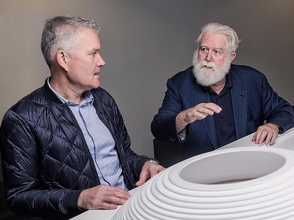 Architect Morten Schmidt, left, and artist James Turrell are collaborating on an installation for the ARos Aarhus Art Museum, called The Next Level