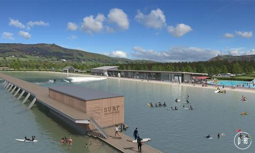 Architects seven have designed the main Hub Building with a 50m-long glazed elevation overlooking the surfing lake