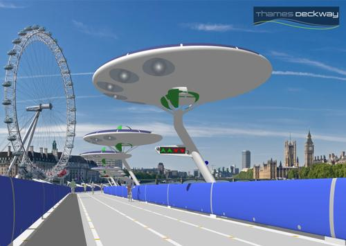 The Deckway would draw all its energy from combined solar, wind and tidal sources / Thames Deckway