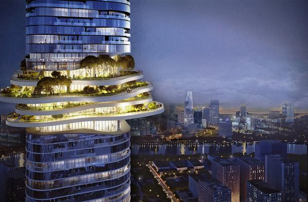A series of landscaped public platforms will be created across the Empire 88 Tower