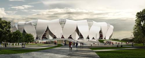 The stadium's vivid shell is formed by 56 entwined steel petals / NBBJ Design