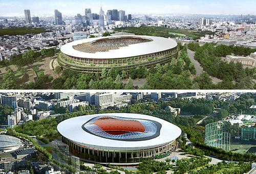 Design A (above) has a combined steel and wood structure, while B (below) has 72 wooden plliars / Associated Press/Japan Sports Council