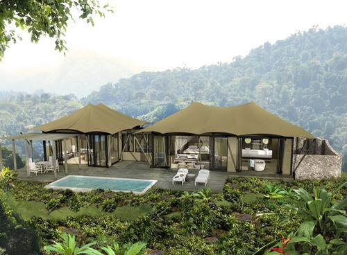 Nayara Tented Resort will include 24 tented lodges, each 954sq ft (88sq m), with a master bedroom and en-suite bathroom, along with an adjoining tent that can be arranged as a second bedroom or lounge / Nayara