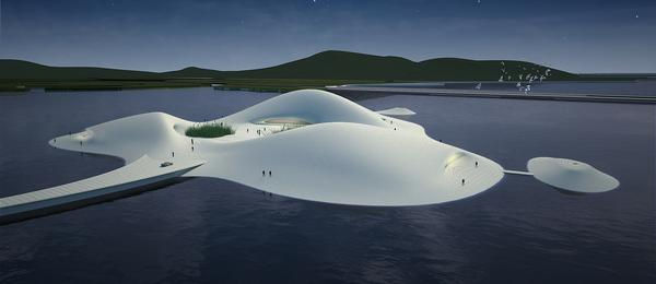 Pingtang Art Museum connects to China's Pingtang Island via an undulating pier