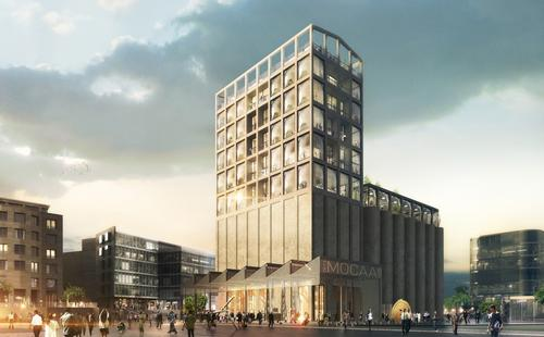Glass panels will be set into the existing exterior of the 1920's Grain Silo / Heatherwick Studio